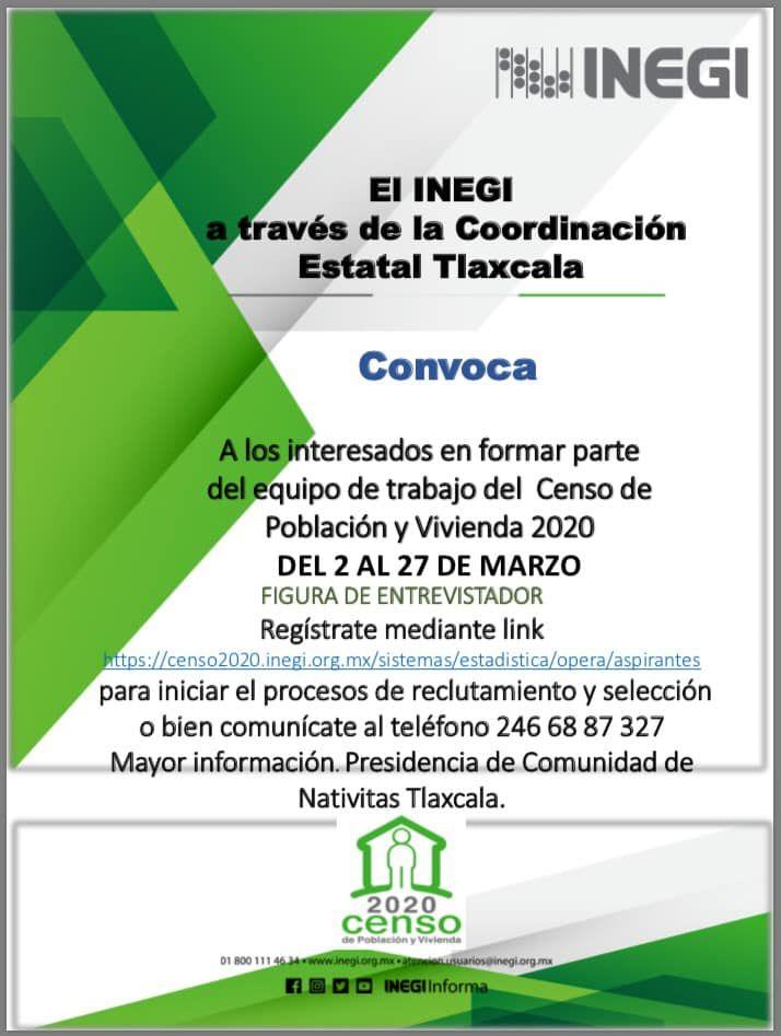 Participa en el Equipo de Censo de Población y Vivienda 2020