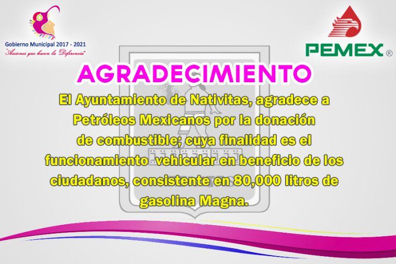 El Ayuntamiento de Nativitas Agradece a Petróleos Mexicanos