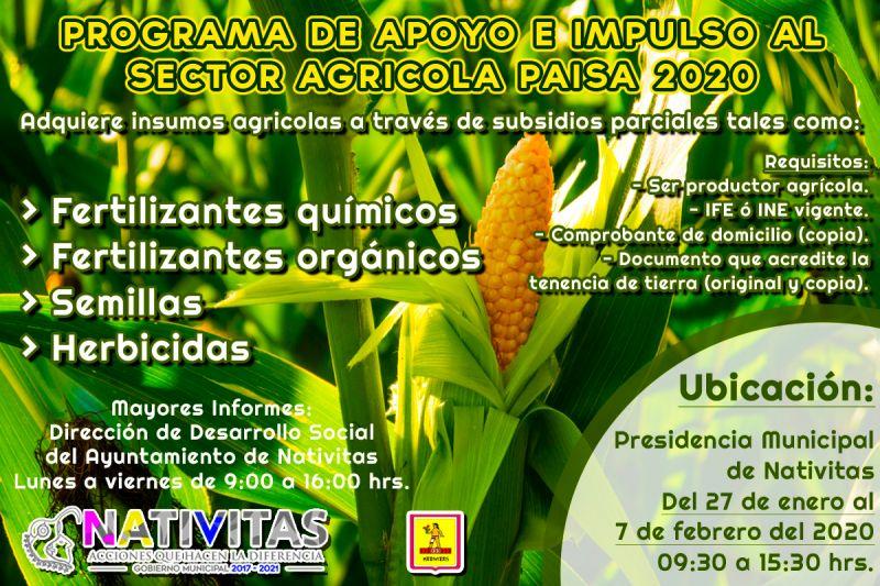 Programa de Apoyo e Impulso al Sector Agrícola PAISA 2020